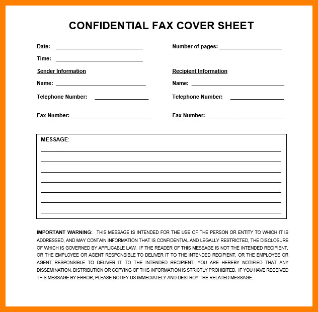 Printable Confidential Cover Sheet 5 Printable Fax Cover Sheet Confidential