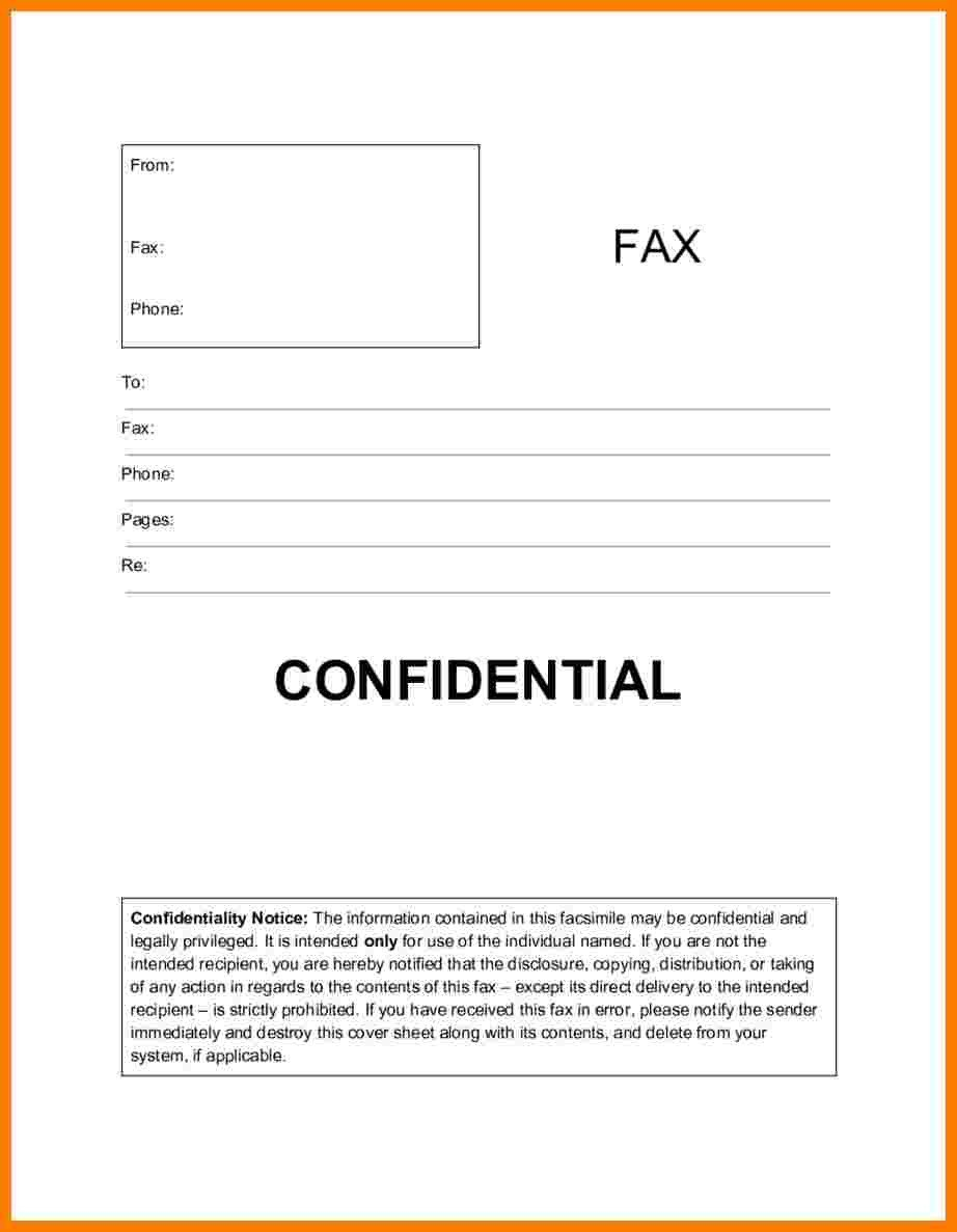 Printable Confidential Cover Sheet 6 Confidential Fax Statement