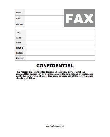 Printable Confidential Cover Sheet Confidential Fax Template