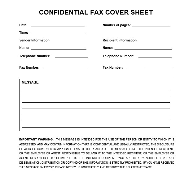 Printable Confidential Cover Sheet Download Confidential Fax Cover Sheet In Word & Pdf