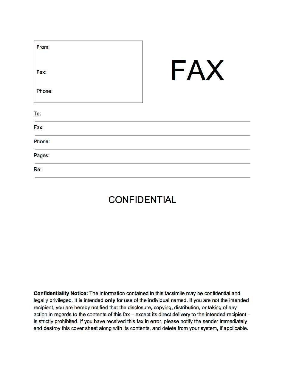 Printable Confidential Cover Sheet Fax Cover Sheet Confidential