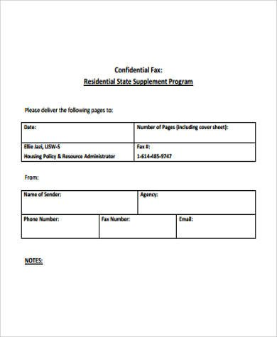 Printable Confidential Cover Sheet Free Printable Fax Cover Sheet 7 Examples In Word Pdf