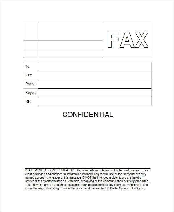 Printable Confidential Cover Sheet Sample Generic Fax Cover Sheets 8 Documents In Pdf Word