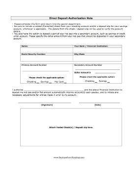Printable Direct Deposit form Direct Deposit Authorization Template