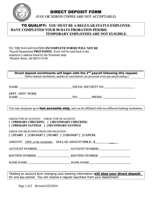 Printable Direct Deposit form Direct Deposit form Printable Pdf