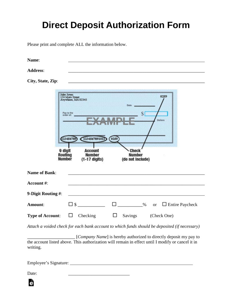 Printable Direct Deposit form Free Direct Deposit Authorization forms Pdf