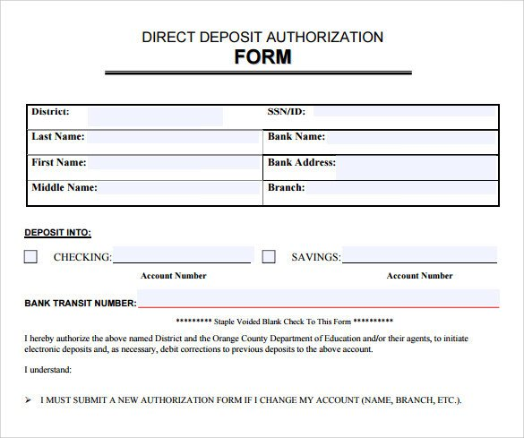 Printable Direct Deposit form Sample Direct Deposit Authorization form 7 Download