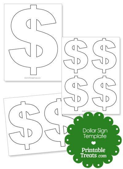 Printable Dollar Signs Printable Dollar Sign Shape Template — Printable Treats