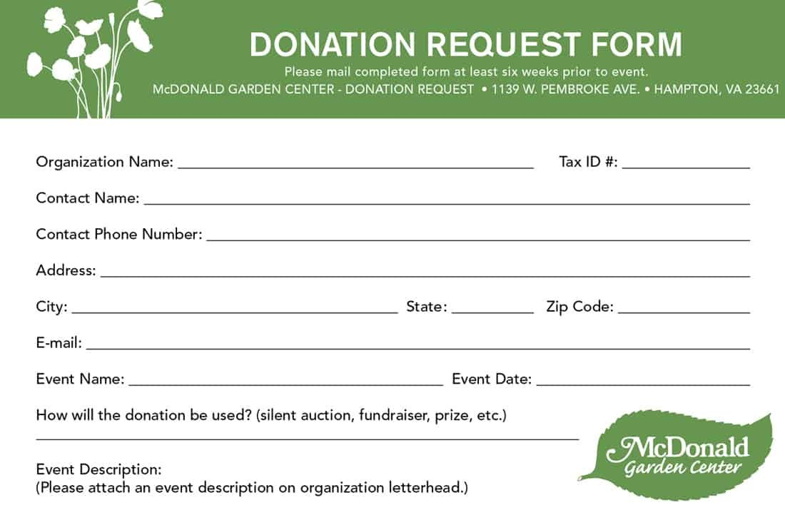 Printable Donation form Template 6 Donation form Templates Excel Pdf formats