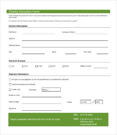 Printable Donation form Template Charitable Donation form Template
