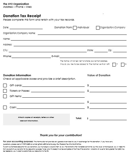 Printable Donation form Template Donation Receipt Template 12 Free Samples In Word and Excel