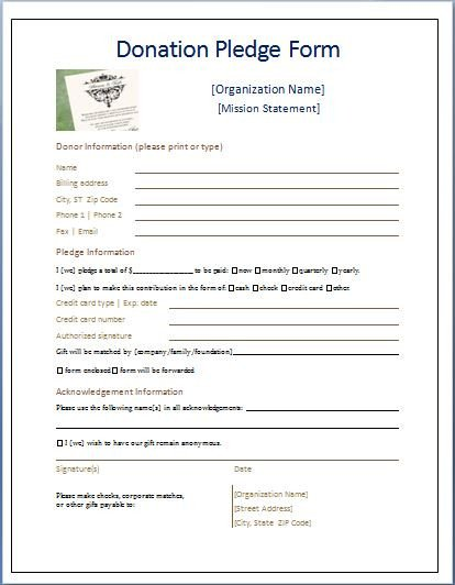 Printable Donation form Template Sample Donation Pledge form