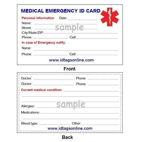 Printable Emergency Card Template 100 Medical Emergency Wallet Cards for Medical Alert Id