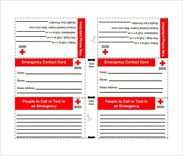 Printable Emergency Card Template 15 Contact Card Templates Psd Ai Eps