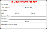 Printable Emergency Card Template Cycling Skills In Case Of Emergency Ice Card