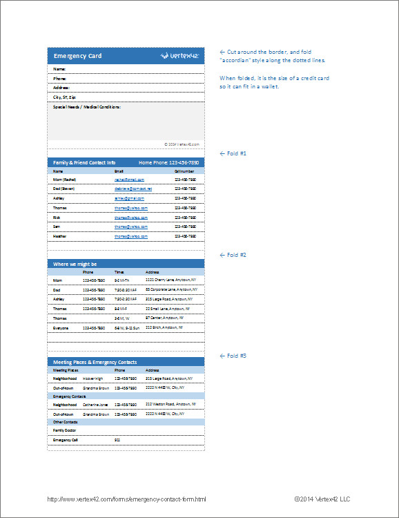 Printable Emergency Card Template Emergency Contact form and Emergency Card Template