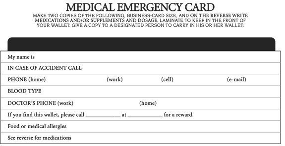 Printable Emergency Card Template Emergency Medical Id Card Template Adorazius