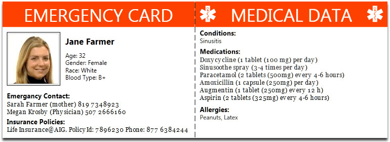 Printable Emergency Card Template Family Health Management software