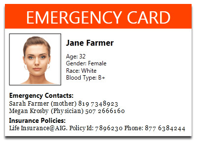 Printable Emergency Card Template Faq About Health Log App Goopatient