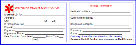 Printable Emergency Card Template Free Printable Medical Id Cards Health and Beauty