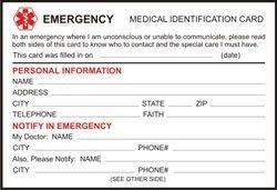 Printable Emergency Card Template Free Printable Medical Id Cards