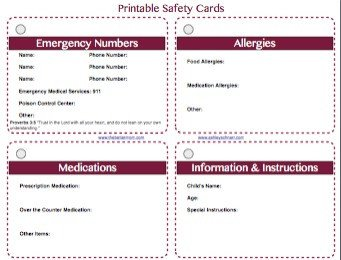 Printable Emergency Card Template Free Printable Safety Cards for Your Children — the Better Mom
