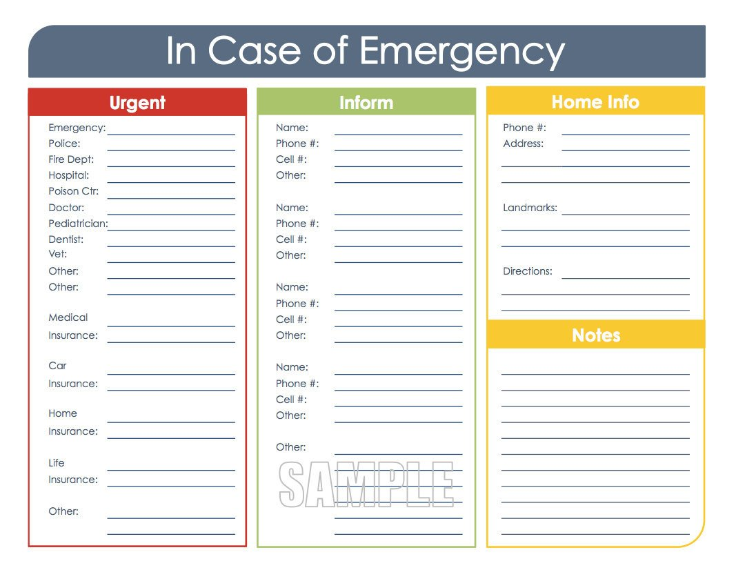 Printable Emergency Card Template In Case Of Emergency Printable organizing Pdf Instant