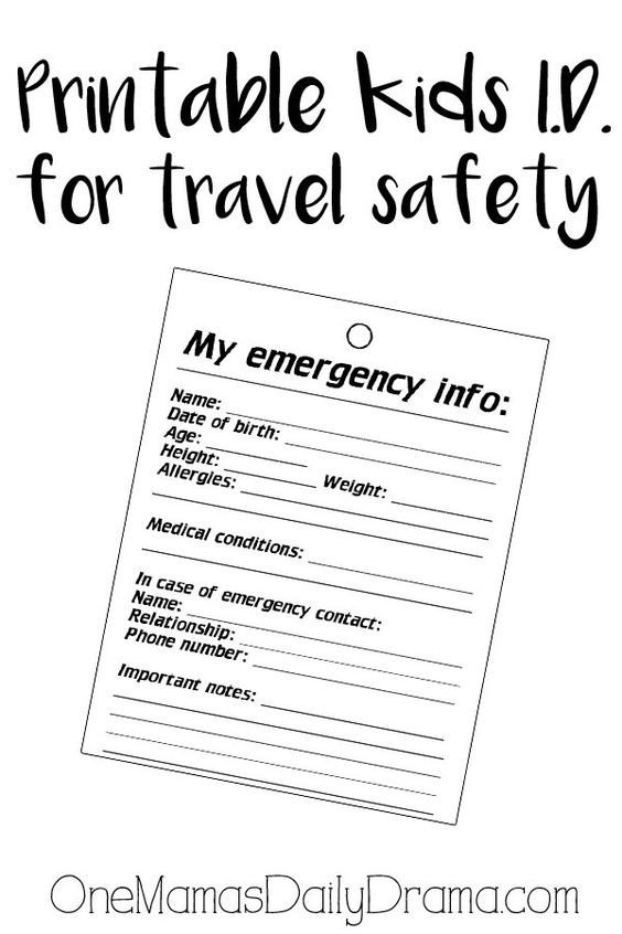Printable Emergency Card Template Pinterest • the World's Catalog Of Ideas