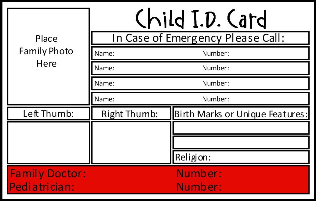 Printable Emergency Card Template Prepared Not Scared Preparedness Project Emergency