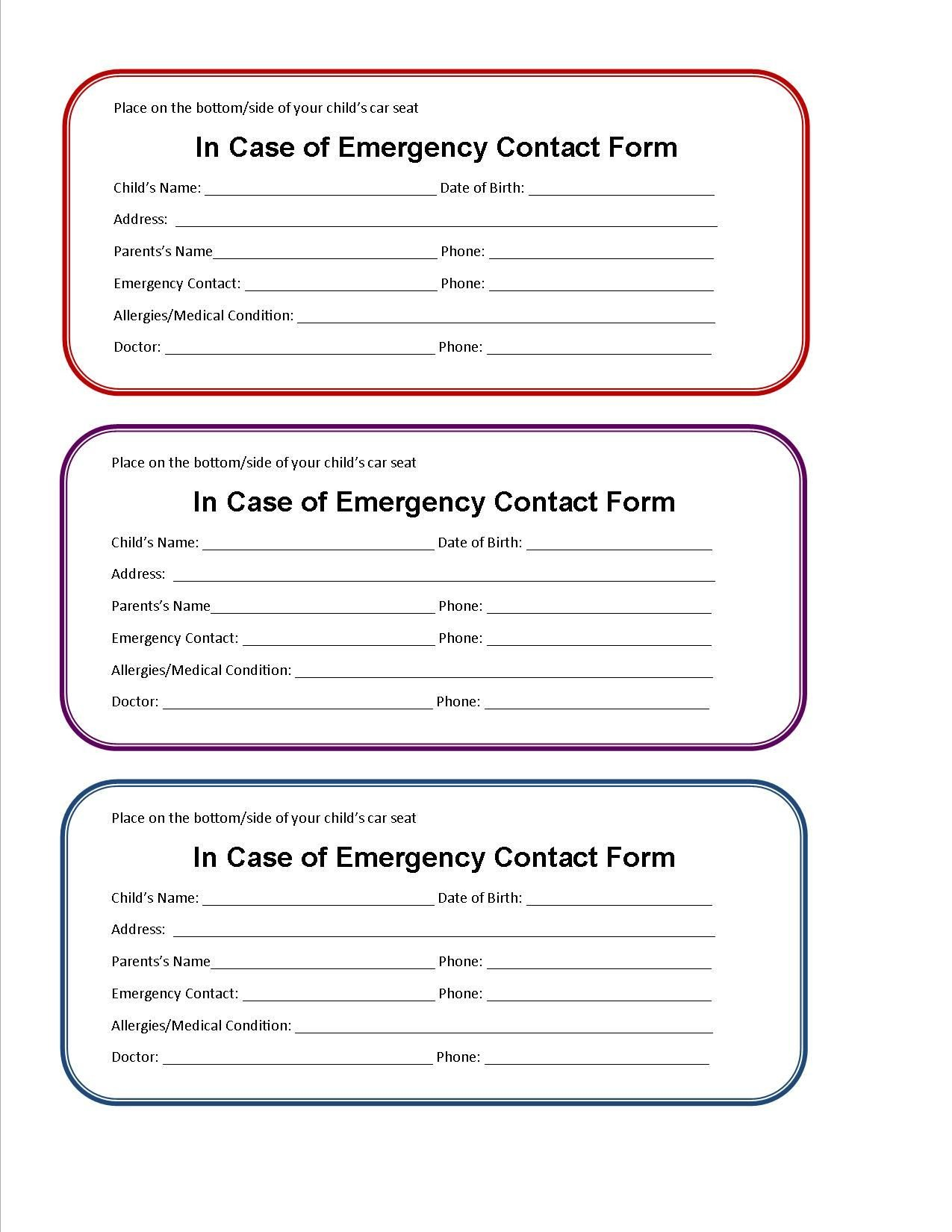 Printable Emergency Card Template Printable Emergency Contact form for Car Seat