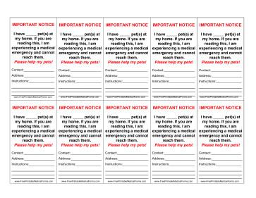 Printable Emergency Card Template Printable Pet Emergency Wallet Card