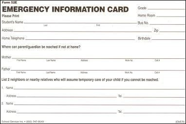 Printable Emergency Card Template Schools Templates and Cards On Pinterest