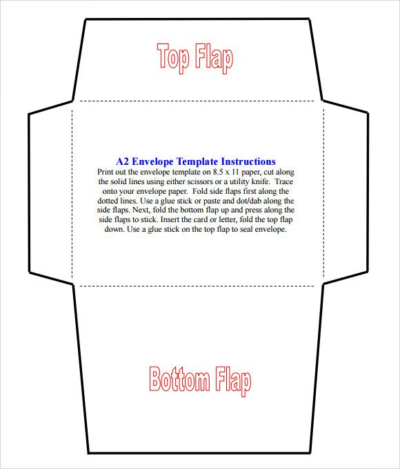 Printable Envelope Template Pdf Sample A2 Envelope Template 7 Documents In Word Pdf