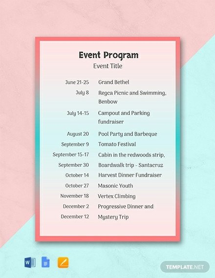 Printable event Program Template 31 Free Program Templates [download Ready Made Samples