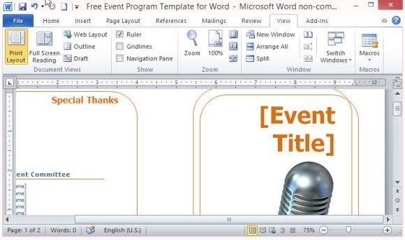 Printable event Program Template Free event Program Template for Word