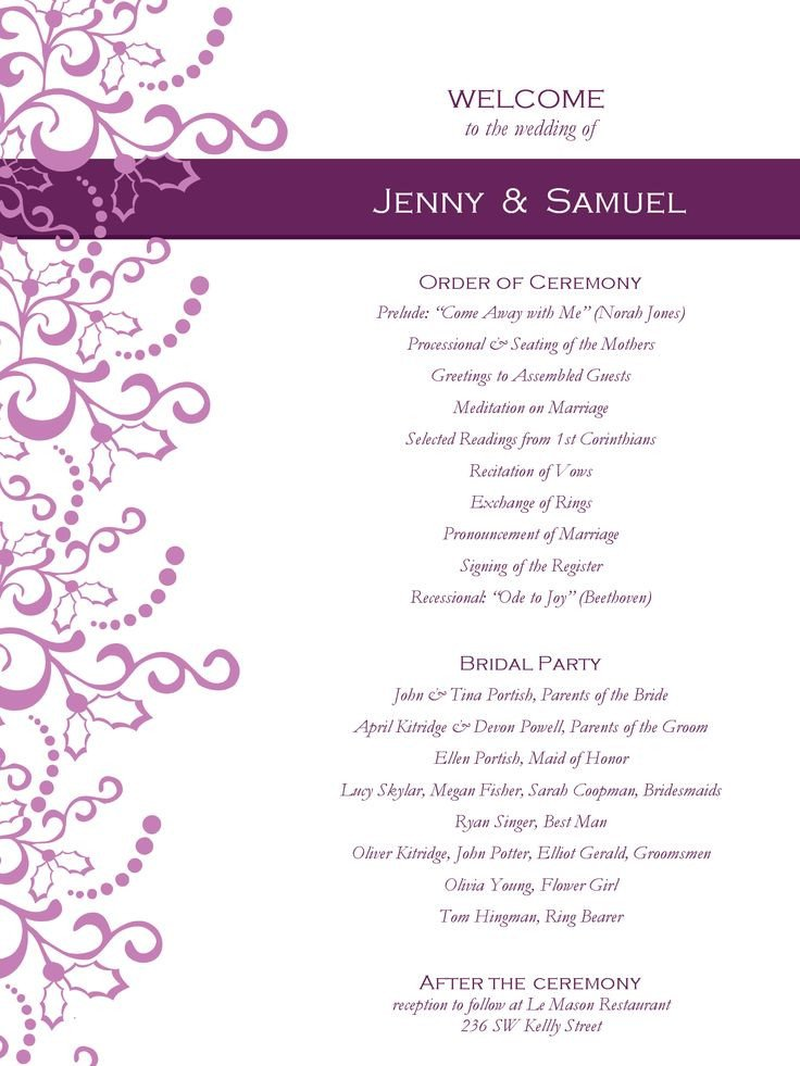 Printable event Program Template Wedding Program Templates Free