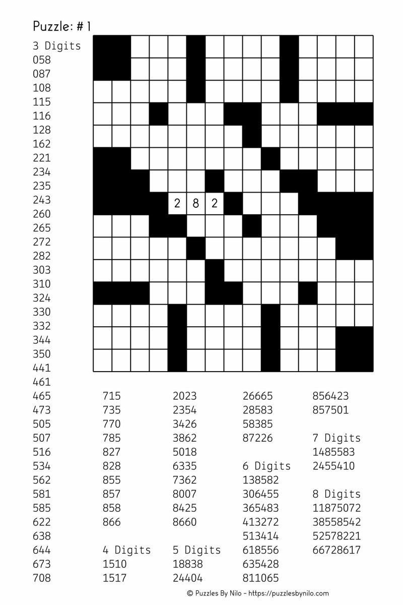 Printable Fill In Puzzle Free Downloadable Number Fill In Puzzle 001 Get