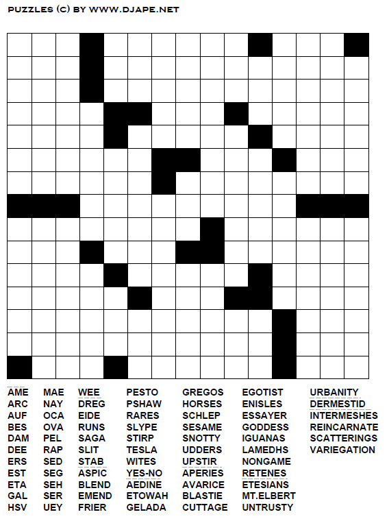 Printable Fill In Puzzle Word Fill Puzzle