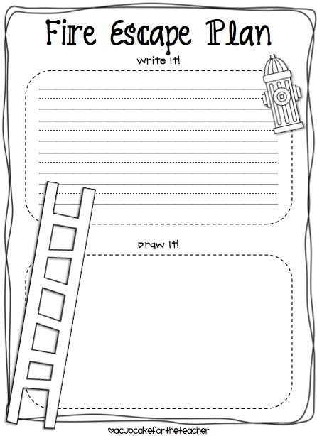 Printable Fire Escape Plan Template A Cupcake for the Teacher Fire Safety Plus A Freebie