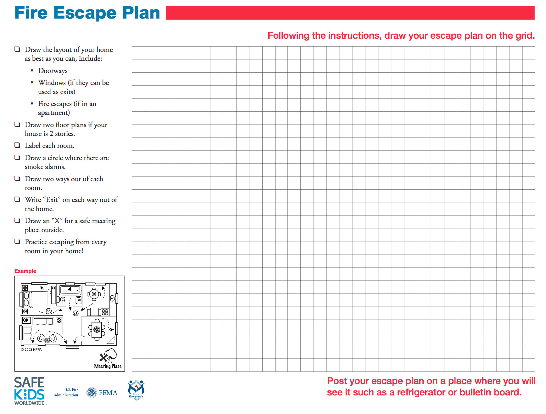 Printable Fire Escape Plan Template Involving Kids In Fire Safety Safe Ride 4 Kids