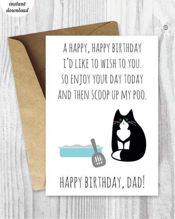 Printable Funny Birthday Card Printable Funny Birthday Cards Black and White Cat Cards