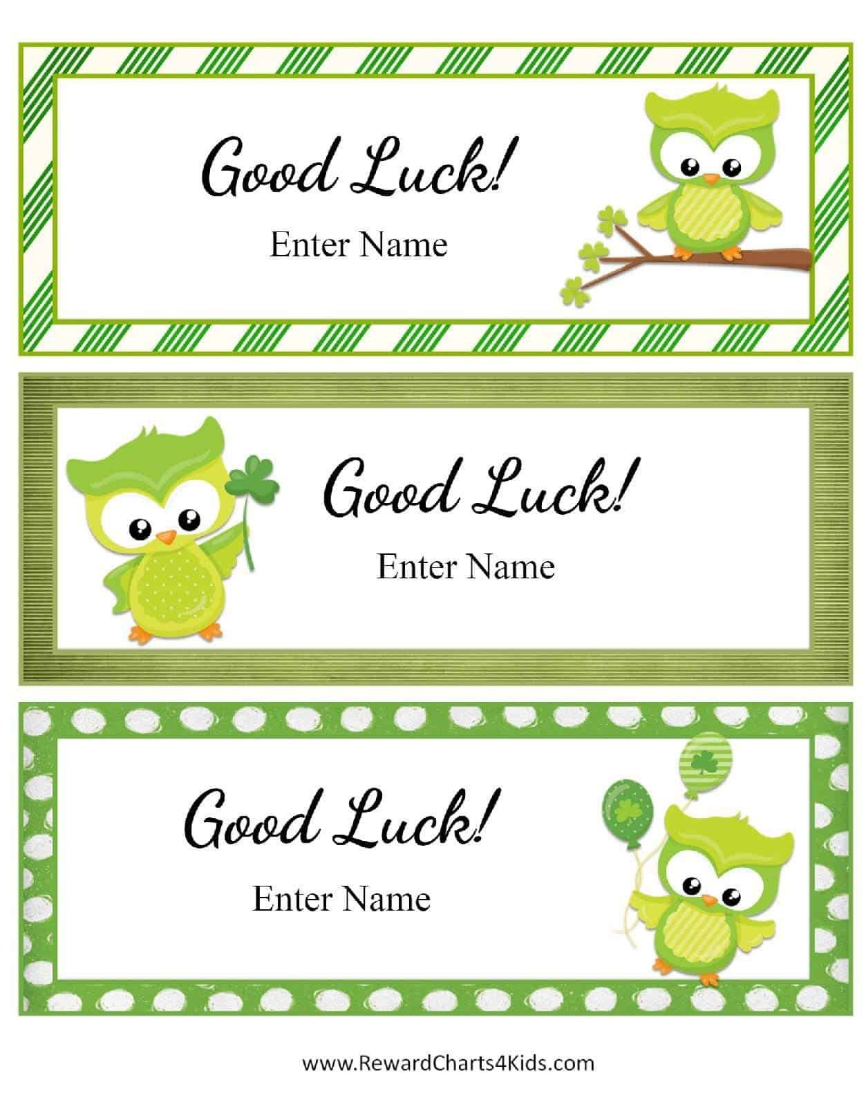 Printable Good Luck Cards Free Good Luck Cards for Kids
