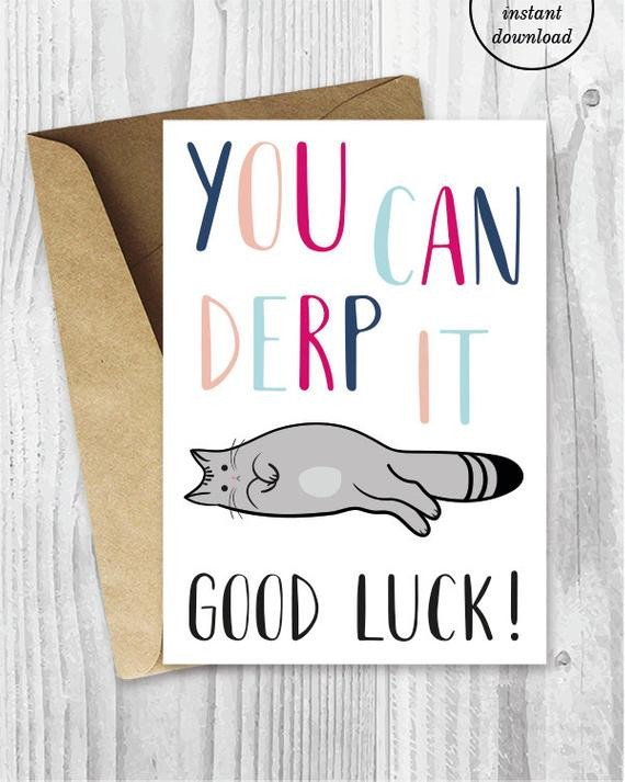 Printable Good Luck Cards Good Luck Cards Funny Cat Good Luck Printable Cards You Can