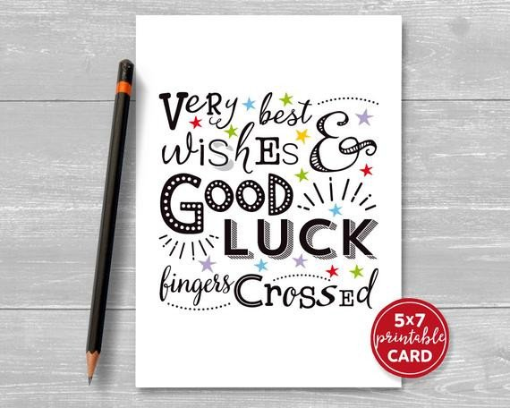 Printable Good Luck Cards Printable Good Luck Card Very Best Wishes & Good Luck