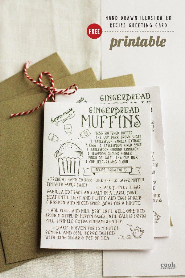 Printable Greetings Cards Templates Free Printable Hand Drawn Illustrated Christmas Recipe