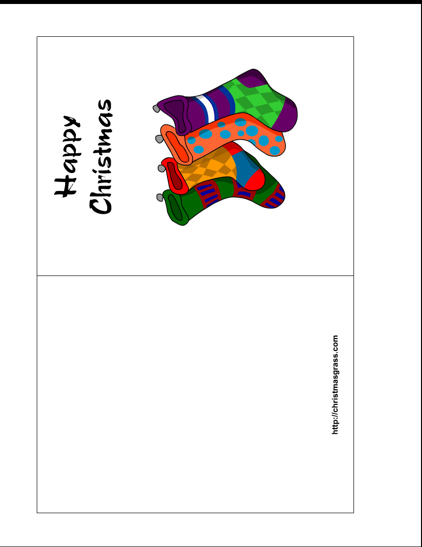 Printable Greetings Cards Templates Free Printable Holiday Greeting Card with Stockings