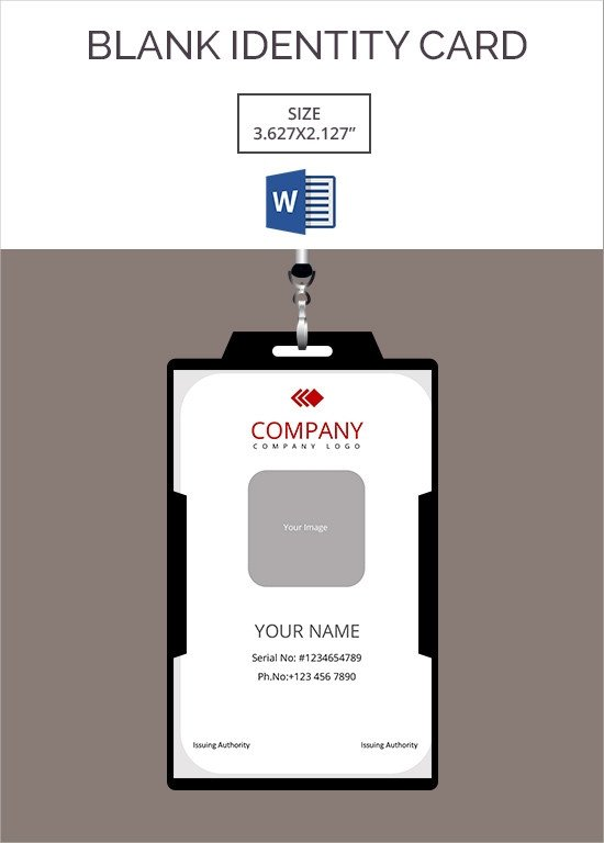 Printable Id Card Template 30 Blank Id Card Templates Free Word Psd Eps formats