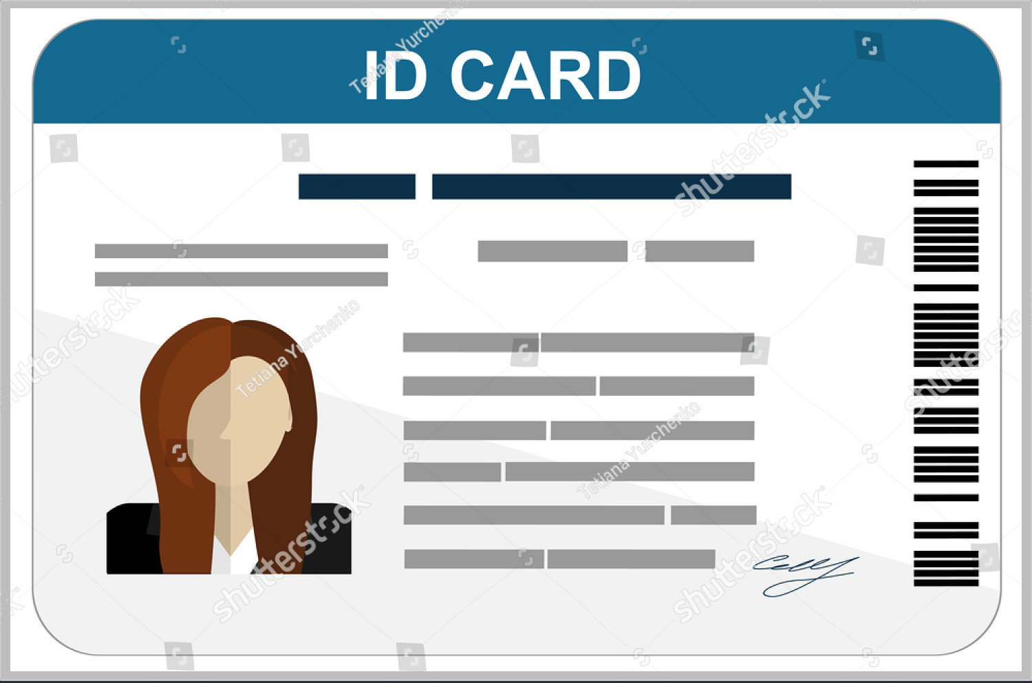 Printable Id Card Template 43 Professional Id Card Designs Psd Eps Ai Word