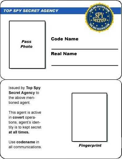 Printable Id Card Template Credit Card Spy Id Card