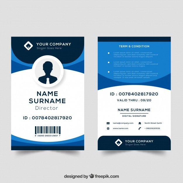 Printable Id Card Template Id Card Template Vector